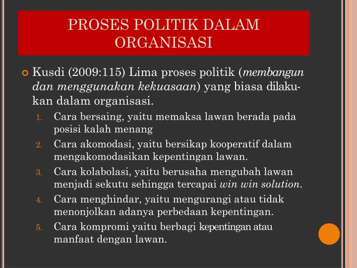 PROSES POLITIK DALAM ORGANISASI