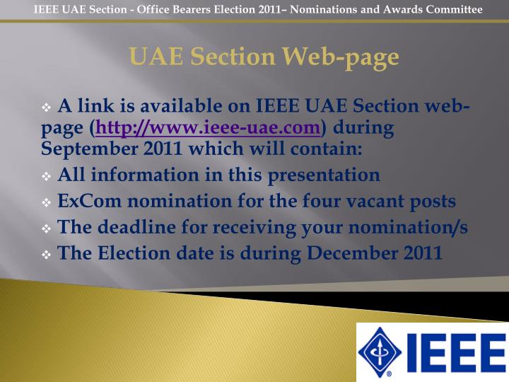 UAE Section Web-page