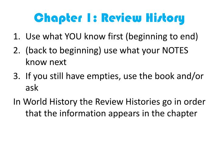 Chapter 1: Review History