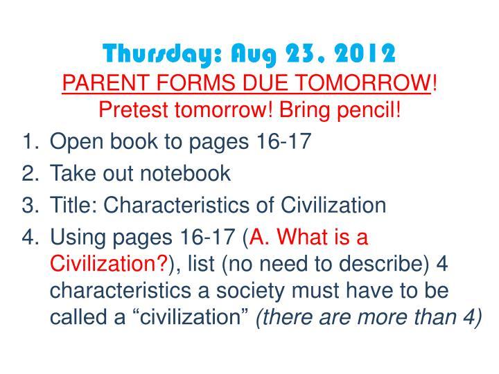 Thursday: Aug 23, 2012