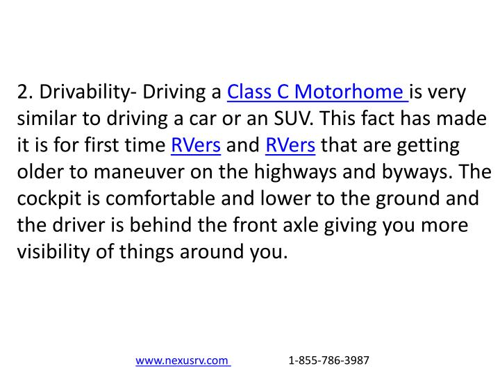 2. Drivability- Driving a