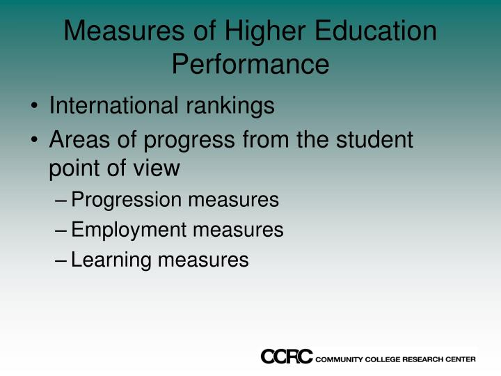 Measures of Higher Education Performance