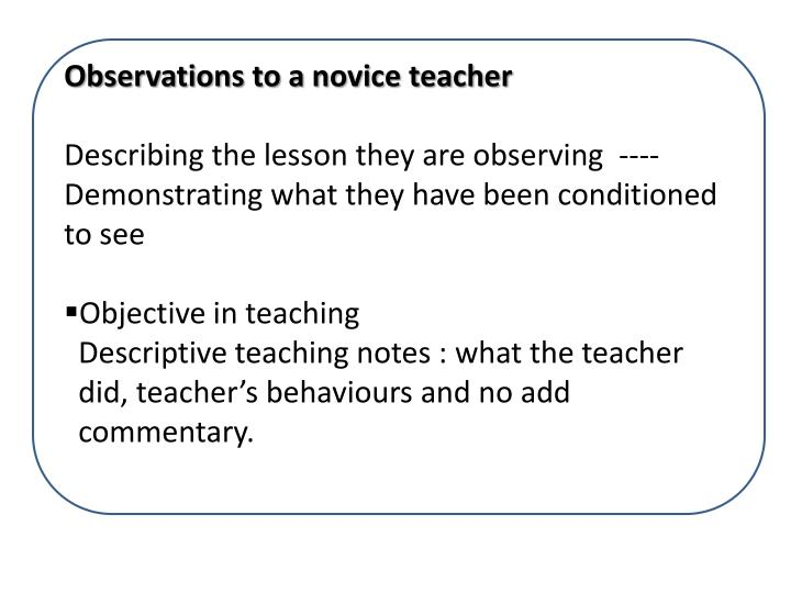 Observations to a novice teacher