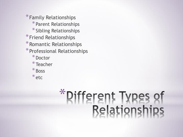 Different types of relationships
