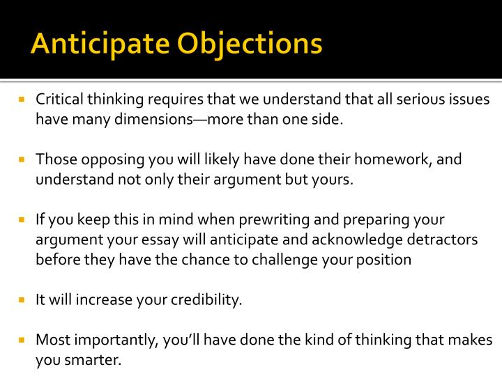 Anticipate Objections