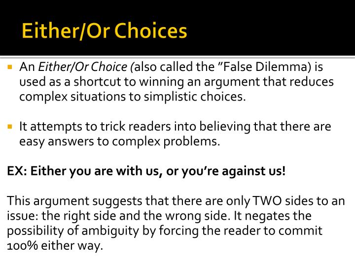 Either/Or Choices