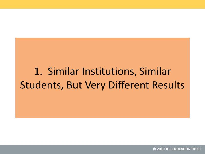 1.  Similar Institutions, Similar Students, But Very Different Results