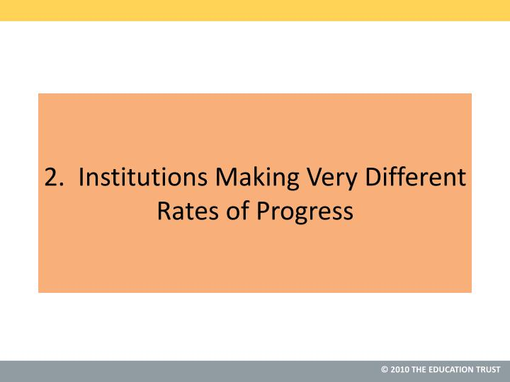 2.  Institutions Making Very Different Rates of Progress
