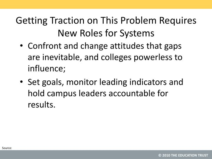 Getting Traction on This Problem Requires New Roles for Systems