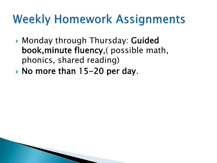 Weekly Homework Assignments