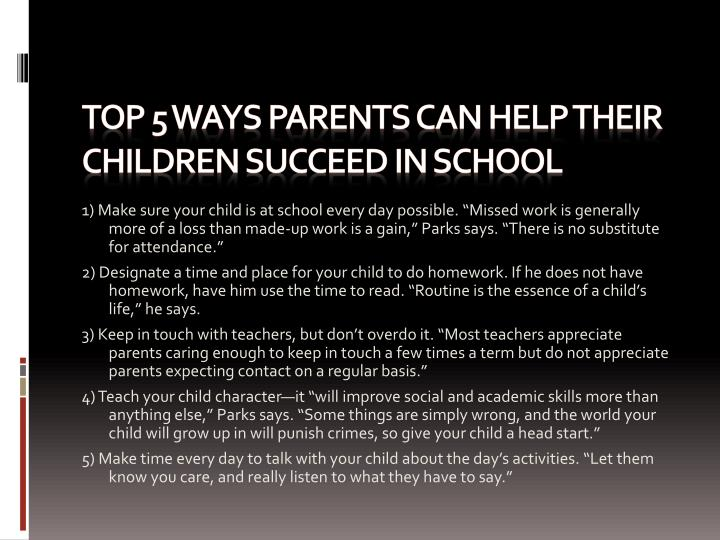 Top 5 Ways Parents can help their children succeed in school