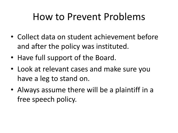How to Prevent Problems