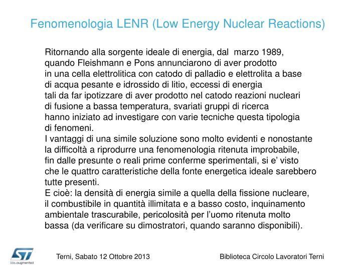 Fenomenologia LENR (
