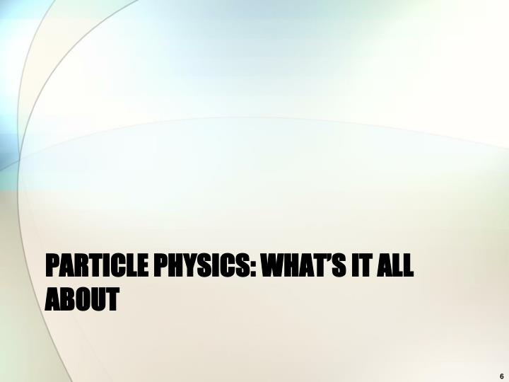 Particle physics: what's it all about