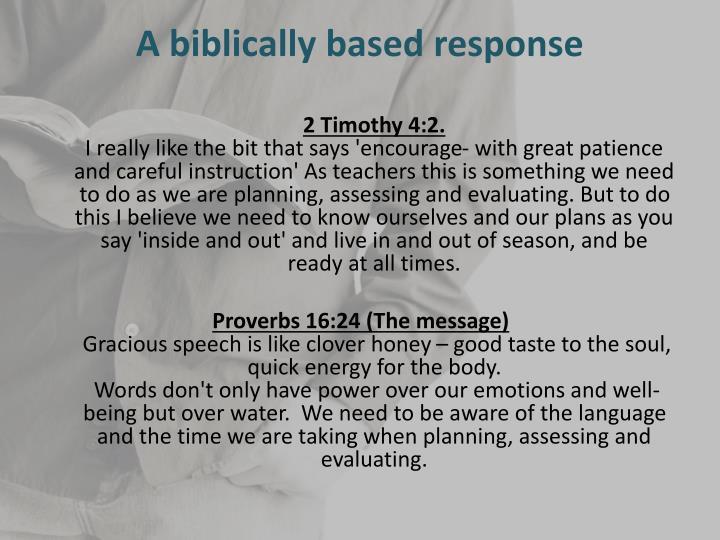 A biblically based response
