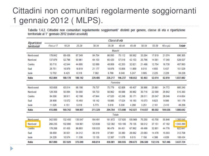 Cittadini non comunitari regolarmente soggiornanti 1 gennaio 2012 ( MLPS).