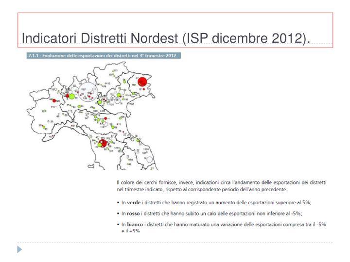 Indicatori Distretti Nordest (ISP dicembre 2012).