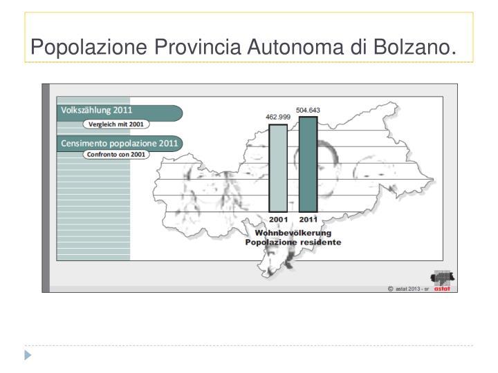 Popolazione Provincia Autonoma di Bolzano