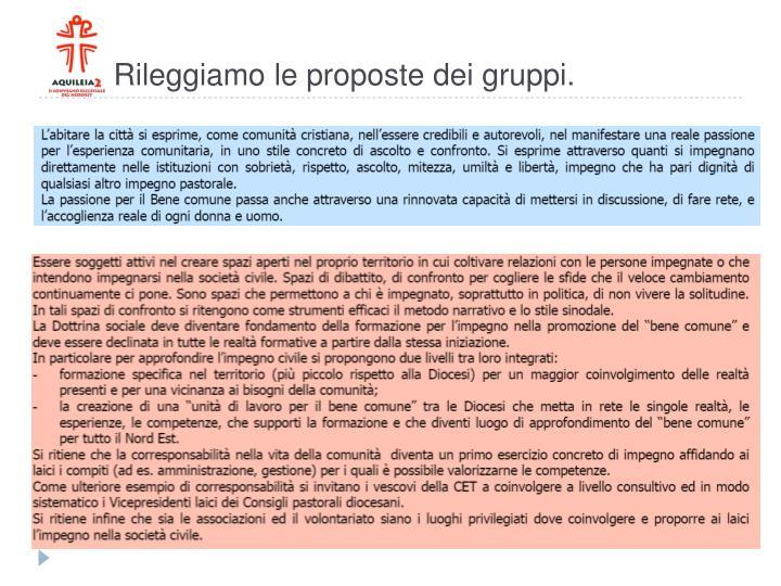 Rileggiamo le proposte dei gruppi.