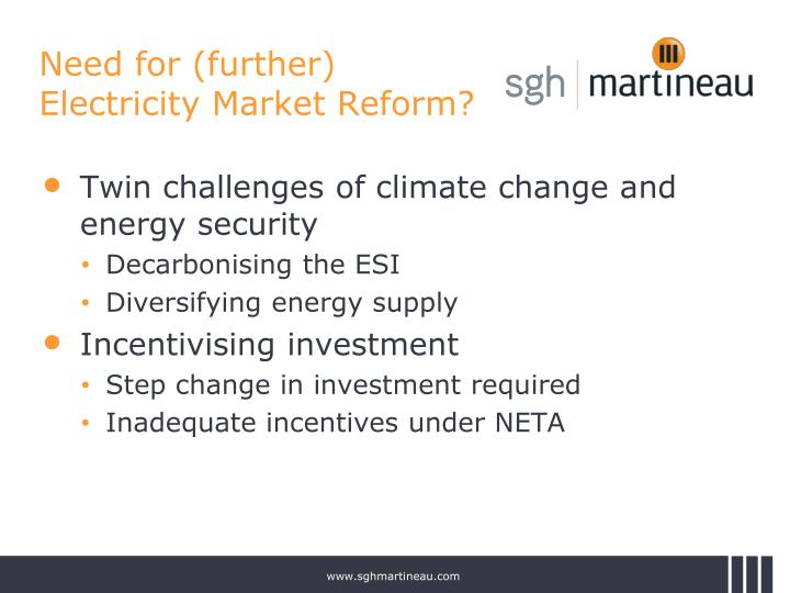 Need for (further) Electricity Market Reform?