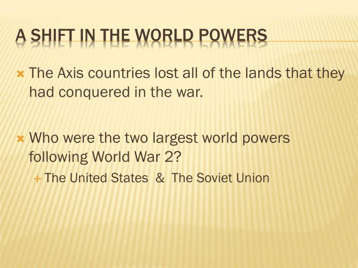 A shift in the world powers