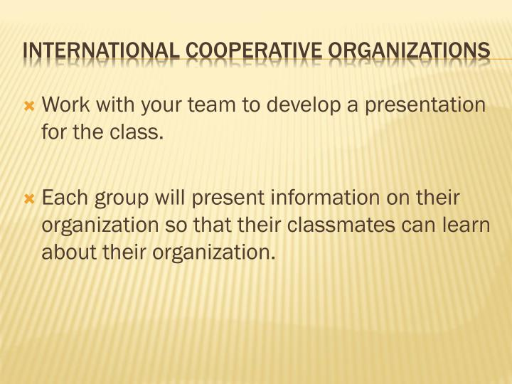 Work with your team to develop a presentation for the class.