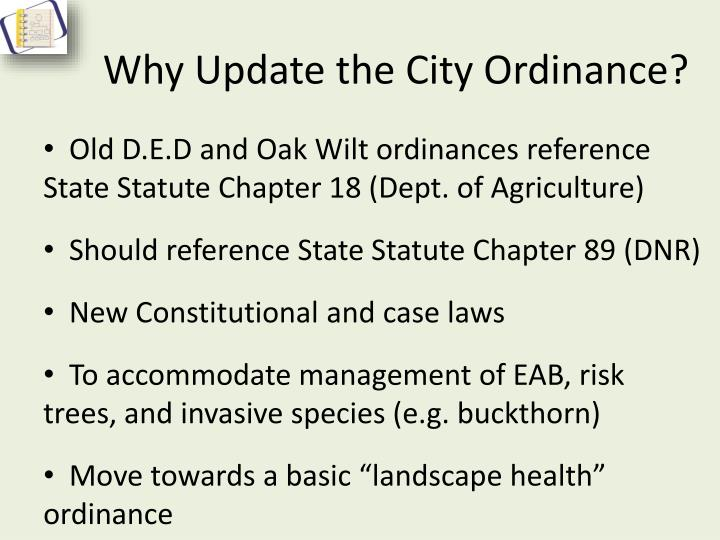 Why update the city ordinance