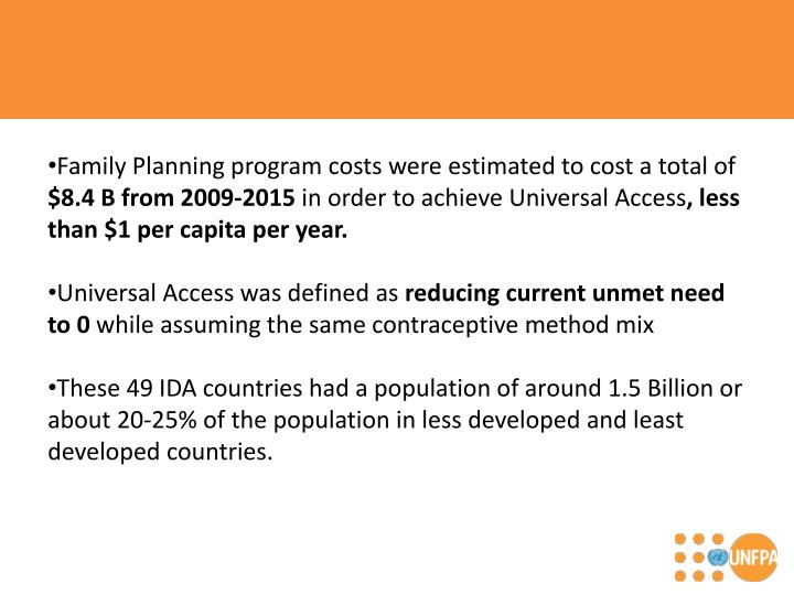 Family Planning program costs were estimated to cost a total of