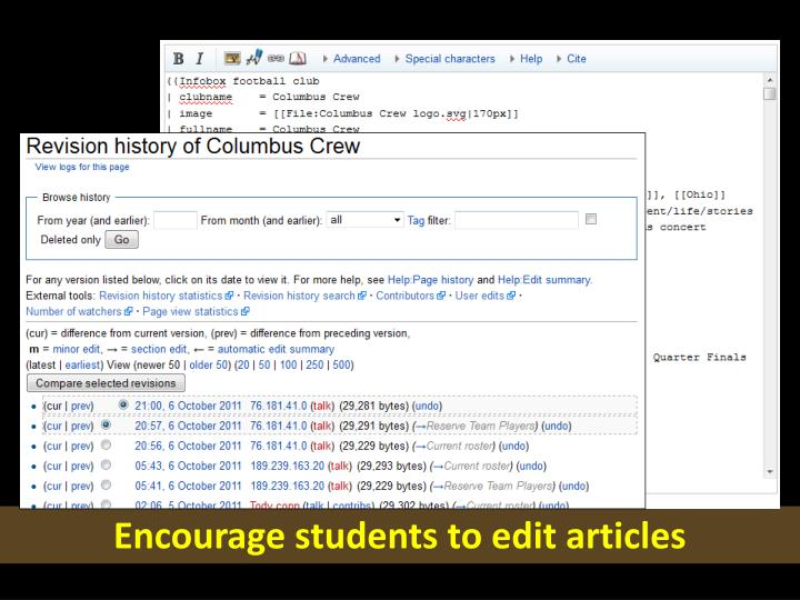 Encourage students to edit articles
