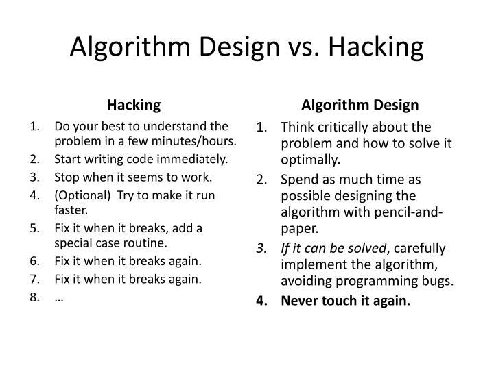 Algorithm Design vs. Hacking