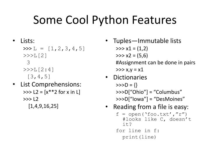 Some Cool Python Features
