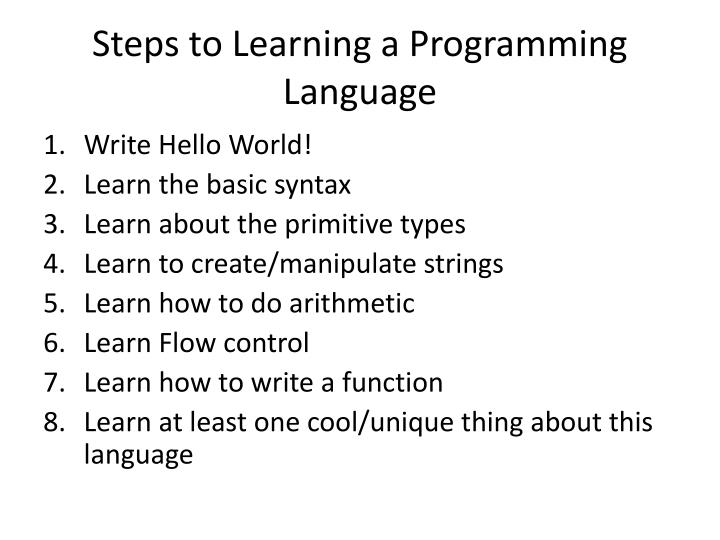 Steps to Learning a Programming Language
