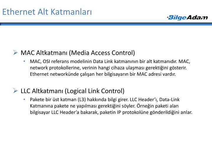 Ethernet Alt Katmanları