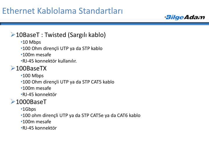 Ethernet Kablolama Standartları