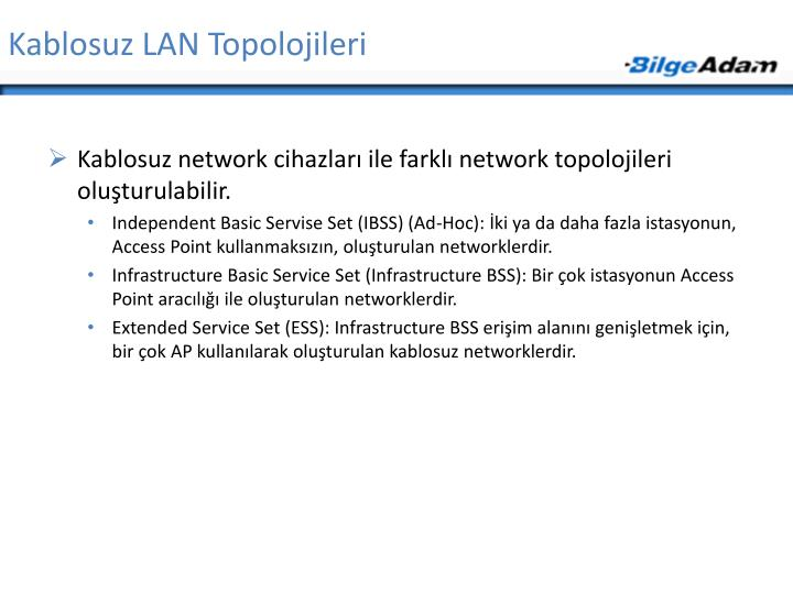 Kablosuz LAN Topolojileri