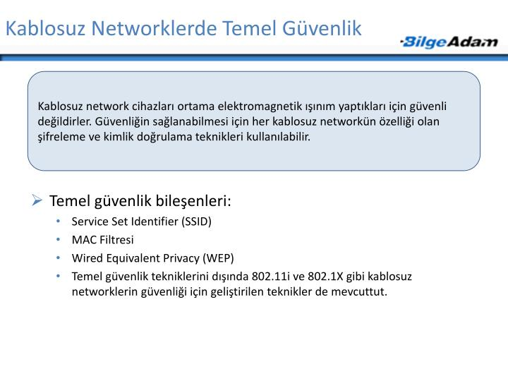 Kablosuz Networklerde Temel Güvenlik