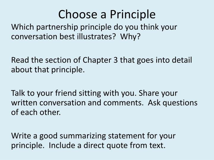 Choose a Principle