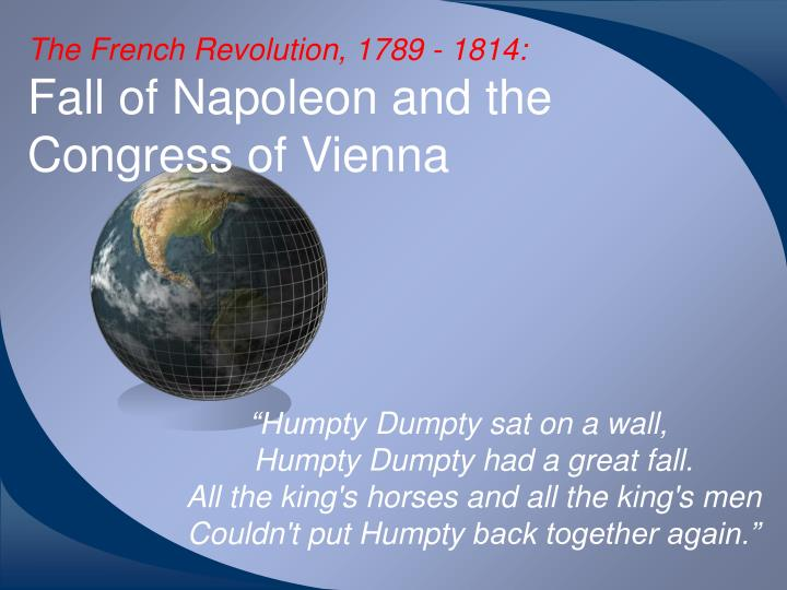 the french revolution 1789 1814 which included napoleon The french revolution began in 1789 with the convocation of the estates the congress of vienna met for the purpose of turning back the clock to the way things were before the french revolution and napoleon the victorious allies, which included which included great britain.