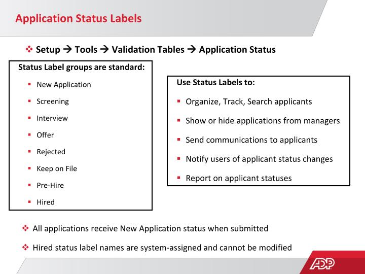 Application Status Labels