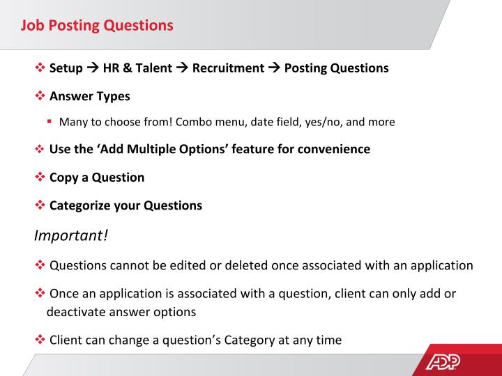 Job Posting Questions