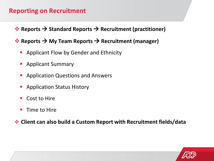 Reporting on Recruitment