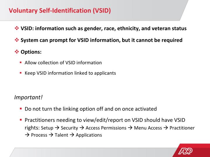 Voluntary Self-Identification (VSID)