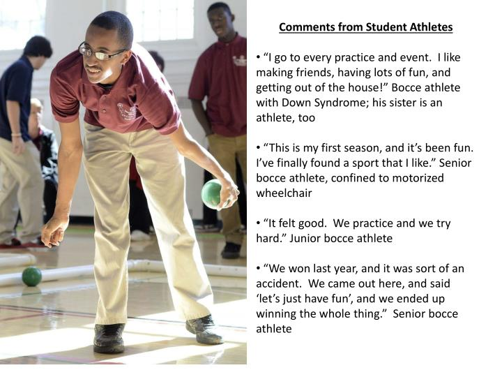 Comments from Student Athletes