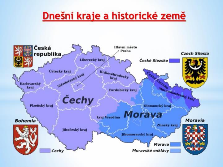 Dnešní kraje a historické země