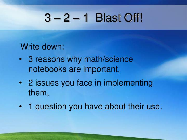 3 – 2 – 1  Blast Off!