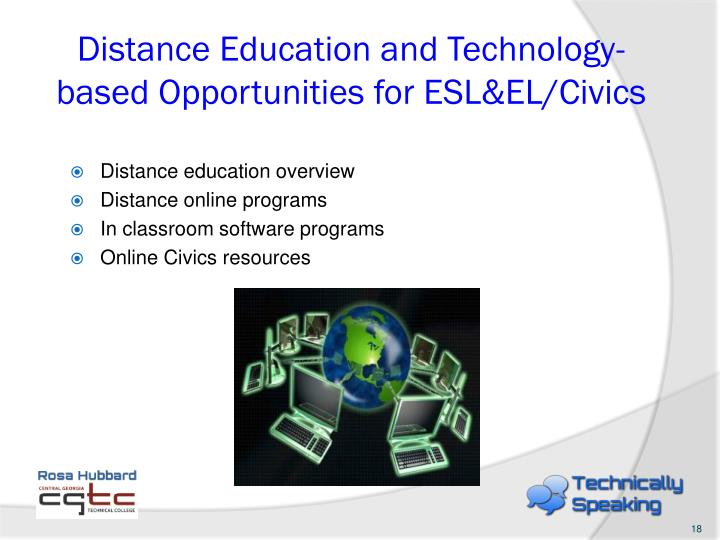 Distance Education and Technology-based Opportunities for ESL&EL/Civics