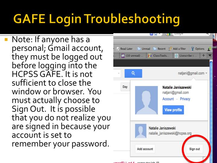 Gafe login troubleshooting