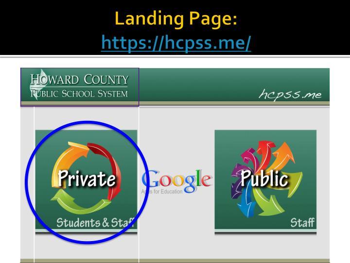 Landing Page: