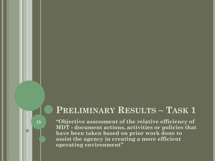 Preliminary Results – Task 1