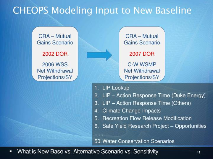 CHEOPS Modeling Input to New Baseline